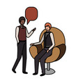 business men with speech bubble avatar character vector image vector image