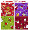 cartoon seamless patterns set with christmas vector image vector image