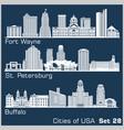 cities usa - fort wayne st petersburg vector image vector image
