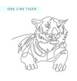 continuous one line drawing of tiger portrait vector image