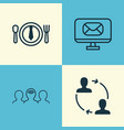 corporate icons set collection of email coaching vector image vector image