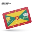 Credit card with Grenada flag background for bank vector image vector image