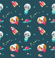 cute animals in cosmos seamless pattern vector image