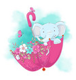 cute cartoon elephant in an umbrella with flowers vector image vector image