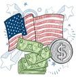 doodle americana money vector image vector image
