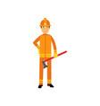 fireman character in uniform and protective helmet vector image vector image
