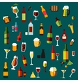 Flat alcohol beverages and cocktails vector image vector image