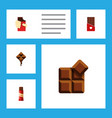 flat icon bitter set of sweet chocolate cocoa vector image vector image