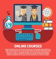 flat online courses graduates concept vector image vector image