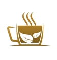 Fresh cup of steaming hot herbal tea vector image vector image