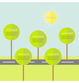 Infographic with road tree and sun Flat design vector image