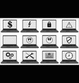 laptops set with different symbols and signs vector image vector image