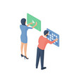 man and woman browsing social media together vector image vector image