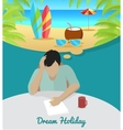 Man Dreaming About Vacation on the Beach vector image vector image