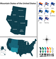 Map of Mountain States of the United States vector image vector image
