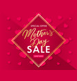 mothers day golden lettering and pink hearts sale vector image