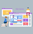 online courses student learning in internet vector image vector image