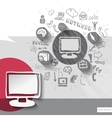 Paper and hand drawn monitor emblem with icons vector image vector image