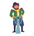 pirate with steering wheel or rudder isolated male vector image