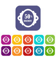 sale label 50 percent off discount icons set vector image