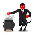 Satan roasts sinners boiler Demon cooking Big vector image vector image