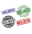 scratched textured believe seal stamps vector image