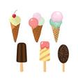 set cute ice cream icons vector image