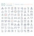 set flat line icons travel and adventure vector image