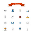 set of 16 editable electric flat icons includes vector image vector image
