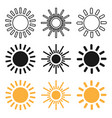 set of black and yellow sun icons sun icons in vector image vector image