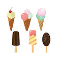 set of cute ice cream icons vector image