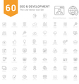 Set of Thin Line SEO and Development icons vector image vector image