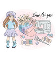 sew for you cartoon clipart color vector image vector image