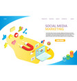 social media marketing landing page website vector image vector image