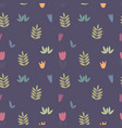stylized branches and flowers seamless pattern vector image vector image