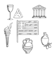 Traditional Greece symbols and culture objects vector image vector image