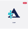 two color camp icon from outdoor activities vector image vector image