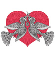 two fancy birds with ornate red heart vector image vector image