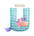 u letter and cute unicorn baby animal zoo