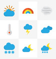 weather flat icons set collection of temperature vector image vector image