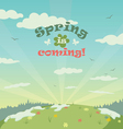 Sping is coming greeting card vector image