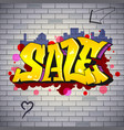 sale lettering in hip-hop graffiti style street vector image