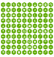 100 water recreation icons hexagon green vector image vector image
