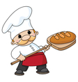 baker with bread vector image vector image