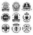 beer nine black emblems badges labels vector image vector image