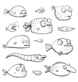 Black Outline Humor Cartoon Swimming Fish vector image vector image