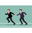 Businessman passing the baton in a relay race vector image