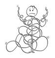 cartoon of man or technician tangled in cord line vector image vector image