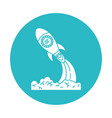 circle light blue with space rocket launch vector image vector image