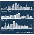 cities usa - jersey city norfolk winston vector image vector image